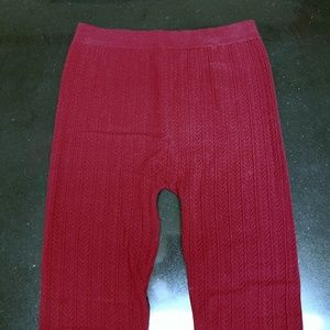 Like New! Textured Wine Red Leggings